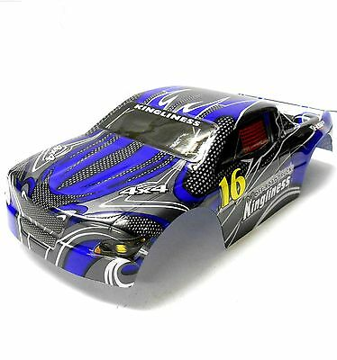 18606 1/16 Scale RC Nitro Monster Truck Body Shell Cover Blue Cut