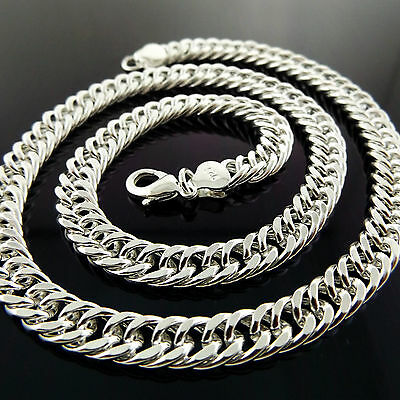 A817 Genuine Real 925 Sterling Silver S/f Solid Mens Heavy Curb Necklace Chain
