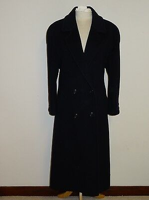 M&S -Ladies Long NAVY BLUE WOOL & 40% CASHMERE COAT - Size 16-18 Petite - LOVELY