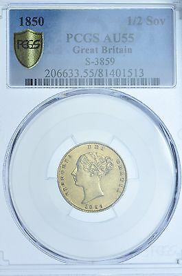 Very Rare 1850 Half Sovereign, Slabbed Pcgs Au-55, British Silver Coin Victoria