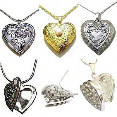 Silver Gold Vintage Heart Locket Necklace Pendant Photo Picture Love Jewelry UK