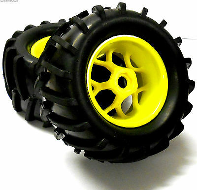 83005 1/8 Off Road RC Truck Wheels and Tyres x 2 Yellow