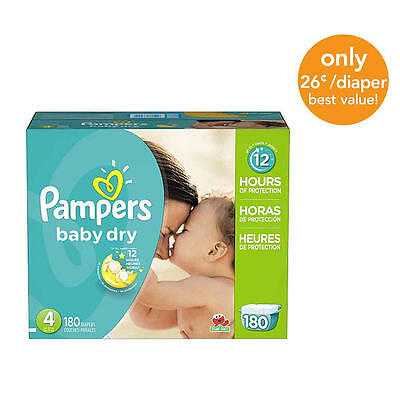 Pampers Baby Dry Size 4 Diapers Economy Plus Pack - 180 Count - $0.26/Ea.