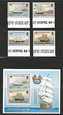Isle of Man 1988 Historic Ships--Attractive Transportation Topical (367-70a) MNH