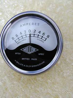 genuine MILLER classic motorcycle shallow headlight AMMETER 8-0-8 British made