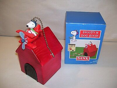 New Peanuts Snoopy Dog House Ceramic Coin Piggy Bank & Red Baron Plane Fan Pull