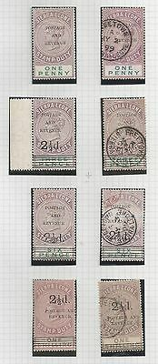 Sierra Leone 1897 Qv Stamp Duty Stamps Selection Of 8 Mint & Used See Scans