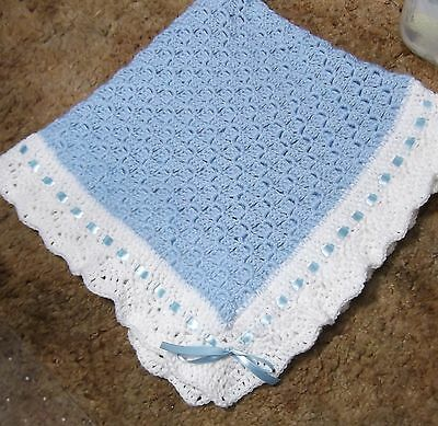Boys  Baby Blanket Soft BLUE and white Handmade Crochet Newborn  New  Christeing