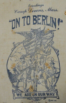 WWI 1918 Silk Hankie Greeting Camp Devens ON TO BERLIN We are on our Way US Army