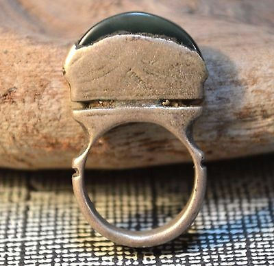 Antique Tuareg Ethnic Coin Silver Ring W Stone, Collected Niger, Ring Size 2.75