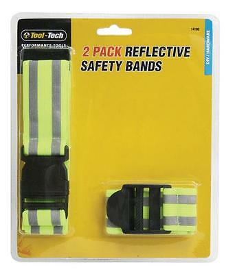 2 x Reflective Fluorescent Safety Bands Hi Vis Arm Band & Waist Belt Adjustable