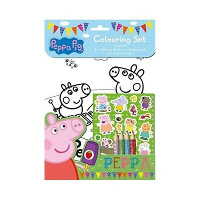 Peppa Pig Play Pack Colouring Set Stickers 4 x Pencils Travel Stocking Fillers