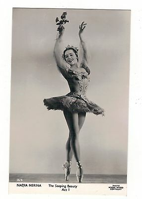 NADIA NERINA. BALLET DANCER - seeping beauty. 1950s REAL PHOTOGRAPHIC POSTCARD