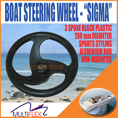 "Sports Boat Steering Wheel 340mm (13"") Black Multiflex 'Sigma'"