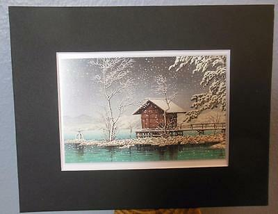 "Matted Print Kawase Hasui Japan Kansa no Miya Shrine  8 x 10"" Sealed Black Mat"