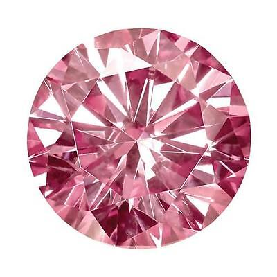 1 Round Cut Moissanite Fancy Pink 8mm Diameter 1.90 tcw Loose Stone
