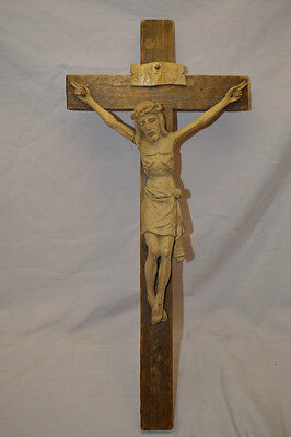 Vintage Italian Hand Carved Wood Jesus Crucifix Cross Religious Carving