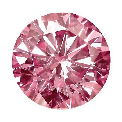 1 Round Cut Brilliant Moissanite Fancy Pink 7mm Diameter 1.20 tw Loose Stone
