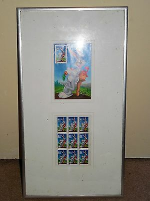 "Bugs Bunny Stamp Collection Framed Matted 17"" X 9.5"" 1997 Looney Tunes"
