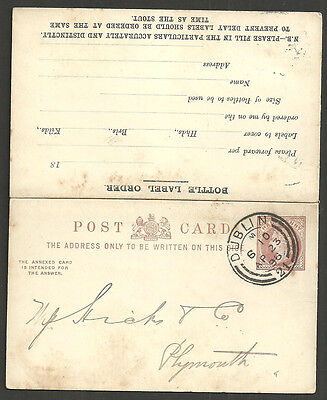 1/2D Reply Post Card Dublin 1896 Bottle Label Order Guinness Jame's Gate Brewery