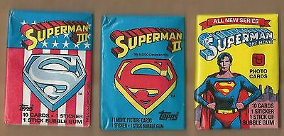 Superman One, Two, & Three Unopened Topps Trading Card Pack Trio!