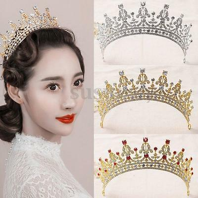 Royal Crystal Rhinestone Crown Wedding Bridal Prom Party Pageant Tiara Hair AU