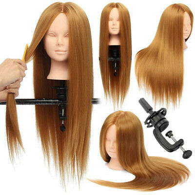 26'' Dressing Makeup Training Practice Head Mannequin Doll 30% Real Hair +Clamp
