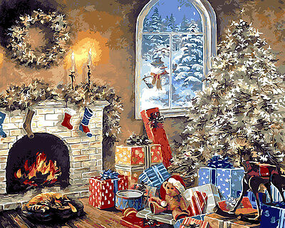 Framed Painting by Number kit Merry Christmas Holiday Warm Living Room BB7661