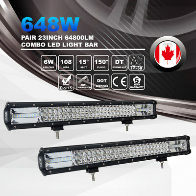 2X 23Inch 648W Tri Row Spot Flood Combo LED Light Bar Off Road Driving Lamp 4WD