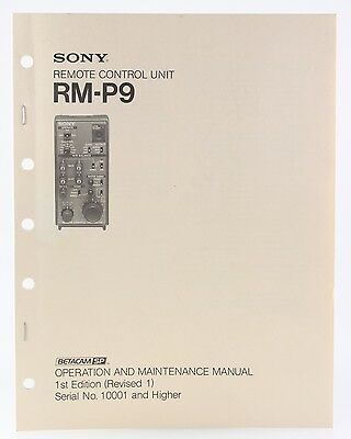 Bedienungsanleitung Sony RM-P9 Operation and Maintenance Manual