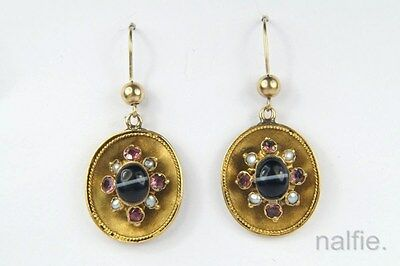 ANTIQUE ENGLISH VICTORIAN PERIOD 15K GOLD BANDED AGATE PEARL EARRINGS c1860