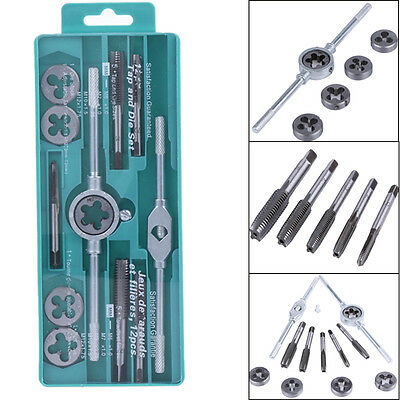 12pcs Tap/Die Set SAE & Metric w/ Case Screw Extractor/Puller Kit Wrench Remover