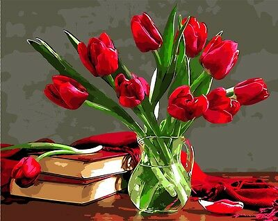 Framed Painting by Number kit A Bottle of Red Tulips Floral  Flowers DIY BB7668