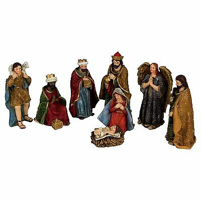 Traditional 8pc Polyresin Christmas Nativity Scene Ornament Set