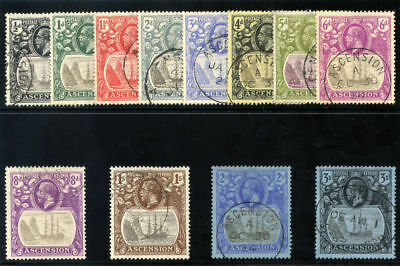 Ascension 1924 KGV set complete very fine used. SG 10-20. Sc 10-21.