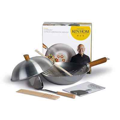 Ken Hom Everyday Carbon Steel Wok Set, 31 cm - 10 Piece