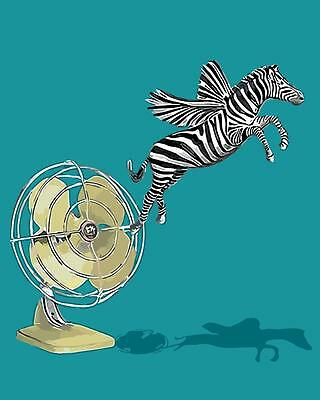 Painting by Number kit FLying Zebra and Electric Fan Animal Modern-style BB7678