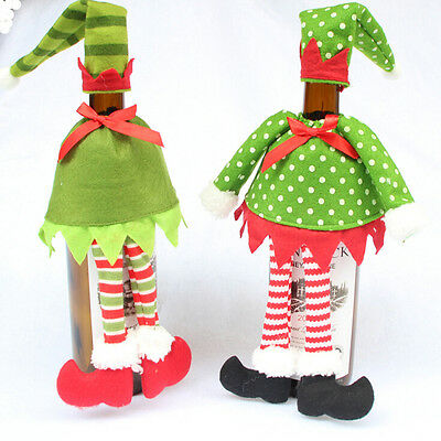 New Stripe Wine Bottle Cover Bags For Christmas Xmas Decoration 1 Set 2 StylesES