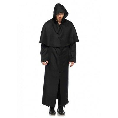 Hooded Button Front Cloak - Plague Doctor Costume Accessory fnt