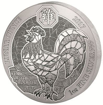 Ruanda Rwanda 50 Francs 2017 Year of the Rooster Hahn 1oz Silber