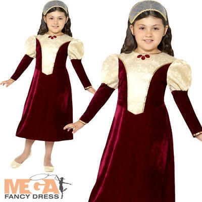 Tudor Damsel Princess Girls Fancy Dress Medieval Renaissance Childs Kids Costume