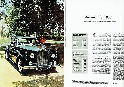 PUBLICITE ADVERTISING 126  1957  la Rolls-Royce Silver Cloud  (2pages)