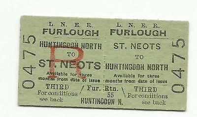 LNER ticket, St. Neots to Huntingdon North