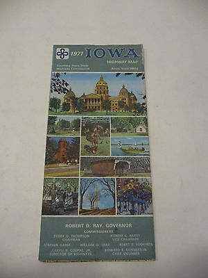 VINTAGE 1971 Official Iowa State Highway Road Map
