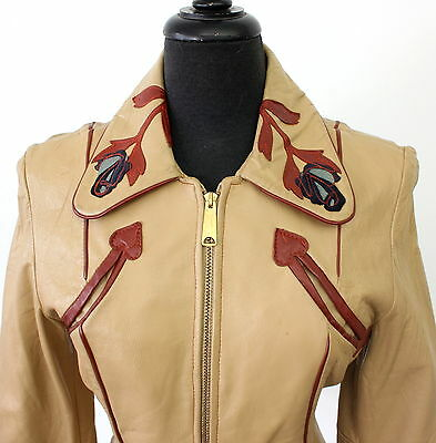 vintage 60s 70s ROSE LEATHER east west musical style JACKET small BIKER rocker