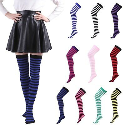 Women's Sheer Striped Thigh High Stockings Plus Size Over The Knee OTK Socks