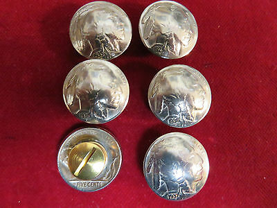 """CONCHOS: 6 Real Coin High Grade """" Indian""""  Nickles, Post & screw"""