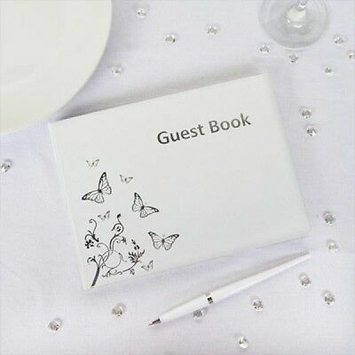 White & Silver Butterfly Design Guest Book Suitable for all Events Occasions