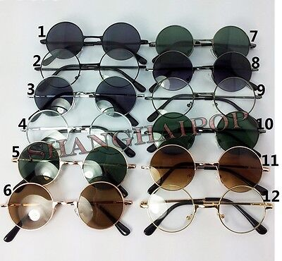 Hippy Round Sunglasses Clear Dark Lens Shades Sunnies Glasses Fancy Vintage 60's
