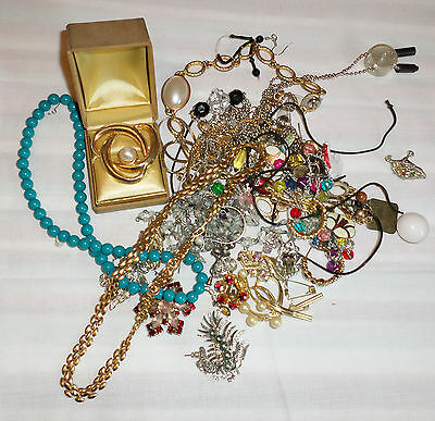 Estate Lot of Mixed Jewelry Necklaces Rhinestone Scrap or Wear (K190)